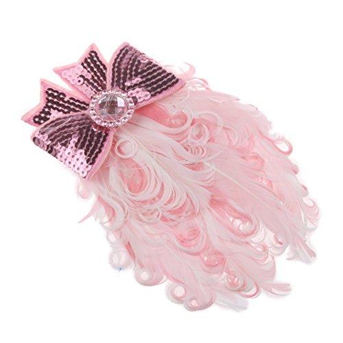TOOGOO(R) Rose bandeau de cheveux pour bebe Belle plume de paon et noeud
