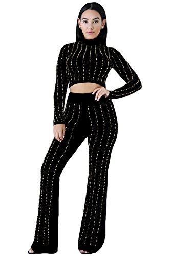 Glittering strass crop top pantaloni pantaloni di tuta set Club Wear casual abbigliamento leggings taglia M UK 10-12EU 38-40