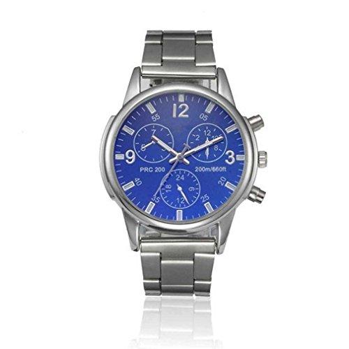 Fittingran orologio da polso al quarzo analogico in acciaio inossidabile di cristallo moda uomo classico orologio da polso sportivo analogico casual classico (blu)