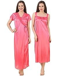 Fasense Women Satin Nightwear Sleepwear 2 PCs Set of Nighty   Wrap Gown  GT004 Purple 2f319769d