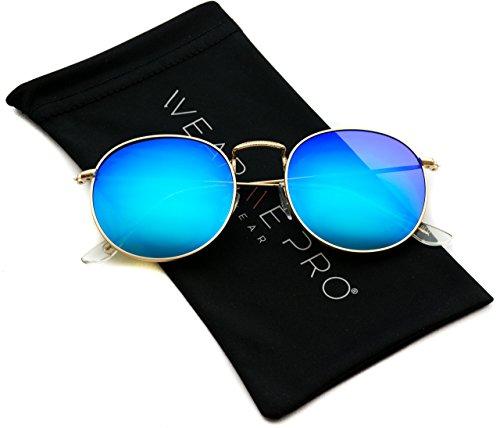 WearMe Pro - Runde trendige Sonnenbrille mit verspiegelten Gläsern (Blaue Linse)