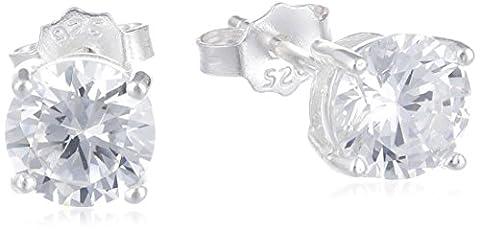Adara Sterling Silver Cubic Zirconia Stud Round Earrings of 6 mm