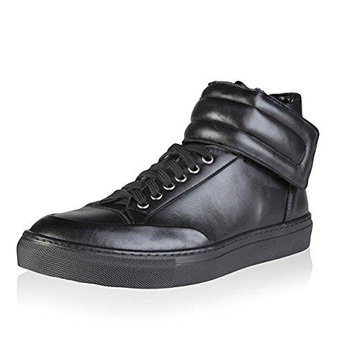 Versace 1969 Nestor Nero Leder High Top Sneakers, Größe 44 (Schuhe Stiefel Herren Gucci)