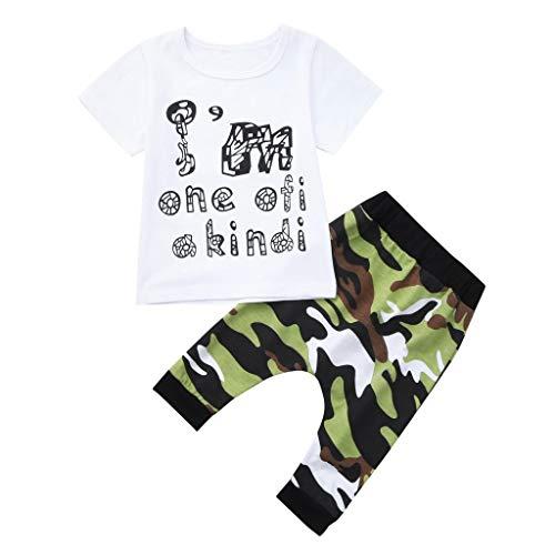 Baby 2 Stücke Outfit Sets,1-4 Jahre Alt Boy Shirt Drucken Brief T Shirt Tops+Camouflage Shorts Anzüge Set Neugeborenes Baby Kleidung(Weiß,3-4 Jahre)