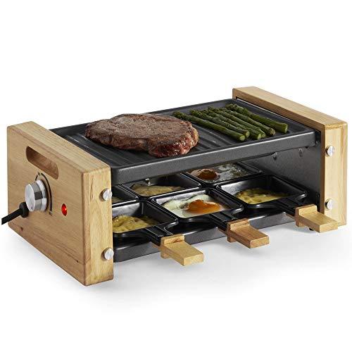VonShef Appareil à raclette 6 personnes 900 W - Raclette grill à température réglable - Poignées en bois - Poêlons individuels - Antiadhésif
