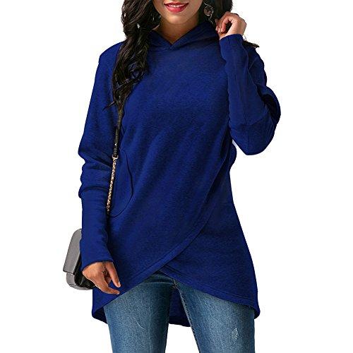Femmes Sweats à Capuche - Tops de Sport Couleur Unie Hoodies Slim Manches Longues Ourlet Asymétrique Casual Veste Chaud Pull Manteau S-5XL