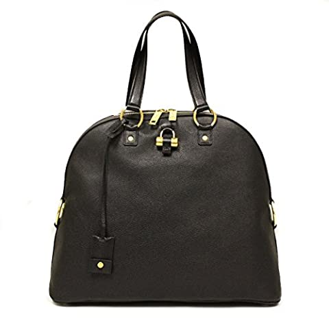 Saint Laurent Yves YSL Black Leather Oversized Muse Dome Satchel Top Handle Shoulder Bag 368220