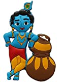 Aayam Design and Solutions Plastic Krishna with Butter matkki Sticker PVC Magnets for Fridge/Magnetic memo Boards (Blue…