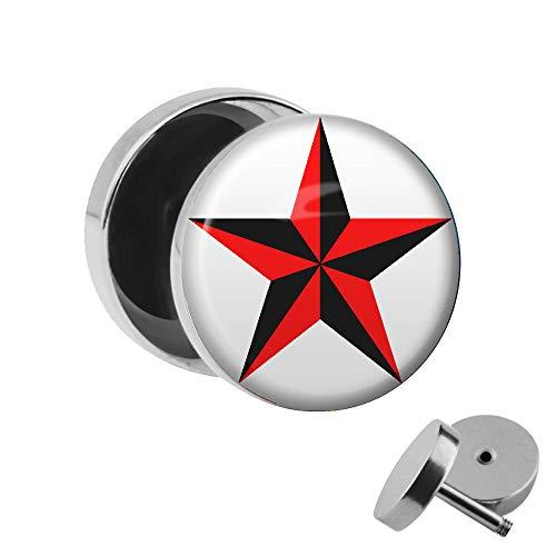 Fünf Sterne Kostüm Service - Treuheld | Ohrstecker zum Schrauben - Stern Schwarz Rot - Nautischer Stern - Fake-Plug mit Gewinde - Edelstahl Fake-Tunnel Ohr-Ring - Nautic Star weiß Silber - Ohr-Piercing - Nautical Ohr-Stecker