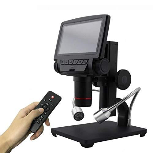 5.0 Inch 1080P Digital Elektronisch Mikroskop 10x-560x Vergrößerung mit 5 Zoll Touch Display und 12 Megapixel, mit USB und AV-Out für Handy Industrial QC Inspektion mit Metall Stand Schwarz Silber -