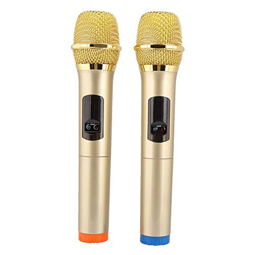 Funkmikrofon Kit, Portable Wireless Handheld Mikrofon mit Empfänger für Kirche/Zuhause/Karaoke/Geschäftstreffen, golden (Mikrofon Handheld Wireless)