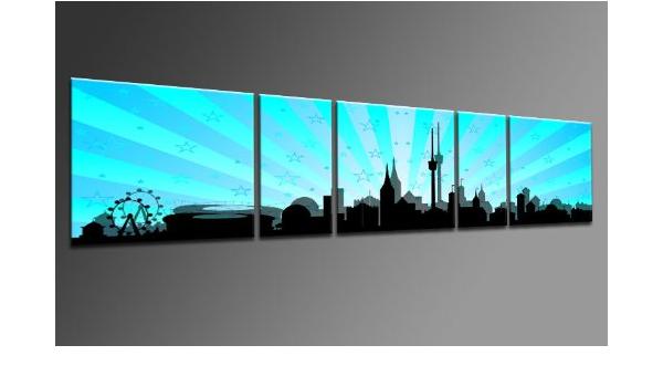 B/ÜRO G/ÜNSTIGER ALS /Ölbild Gem/älde Poster Plakat mit Bilderrahme TOP Bild auf Leinwand CITY PANORAMA STYLE LEIPZIG SUN ROT 5 TEILE DIGITAL Arts AP500169 Bilder fertig bespannt auf Keilrahmen Kunstwerk als Wandbild auf Rahmen.Wohnzimmer