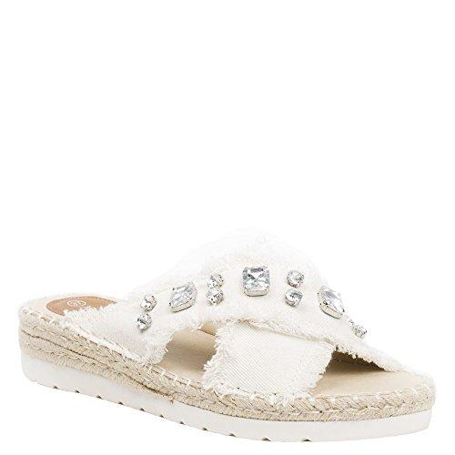 Ideal Shoes Mules en Jeans Incrustées de Strass Aalya Beige