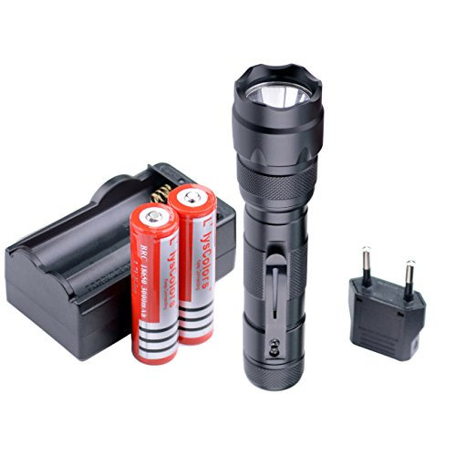 Llys Colors WF-502B - Linterna LED, práctica, ultrabrillante, con 5-modos, baterías y cargador, color negro