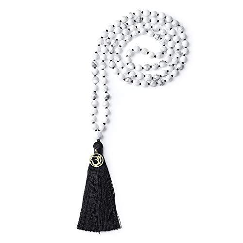 COAI Unisex Handgeknüpft 108 Mala Yoga Kette Buddhistische Halskette Gebetskette aus Howlith mit Quaste und OM Anhänger