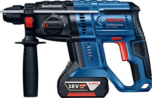 Bosch Professional Akku Bohrhammer GBH 18 V-20 (2 x 5,0 Ah Akku, 18 Volt System, Schlagenergie max.: 1,7 J, im Koffer)