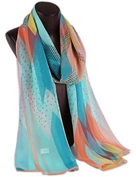 Prettystern HL761 - 180cm X55cm bufanda larga de seda- puntos y rayas - disponible en 4 colores