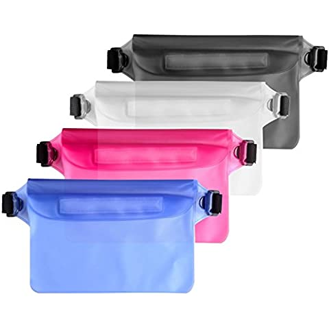 PChero Pack de 4 Funda Impermeable Bolsa mejor bolsa seca con correa de cintura para barcos, senderismo, natación, buceo o en la