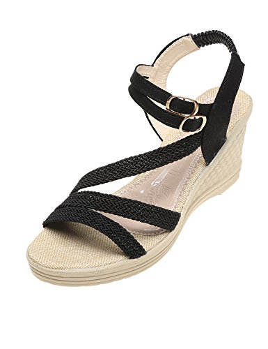 cooshional Damen Sandaletten Bequeme Keilsandalette High Heels Sandalen mit Absatz Schwarz