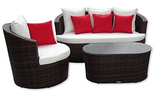Rattan Gartenmöbel Garten Lounge Set U2013 Rundes Design U2013 Braun Mit