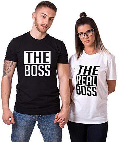 Womens Camp-shirt (Couple Shirts Pärchen T-Shirts für Zwei Paar Shirts Set Partnerlook T Shirt Baumwolle Schwarz 2 Stücke (Schwarz+Weiß, Men-M+Women-S))
