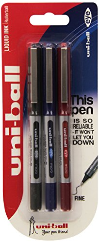 uni-ball-eye-micro-fine-ub-150-rollerball-pen-assorted-colours-pack-of-3