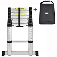 AODI Aluminum Telescoping Ladder with Stabilizer Bar, Telescopic Extension Multi Purpose Ladders Portable EN131 Certified for Industrial Household Daily (12.5 Feet and 330 LB Maximum Weight)
