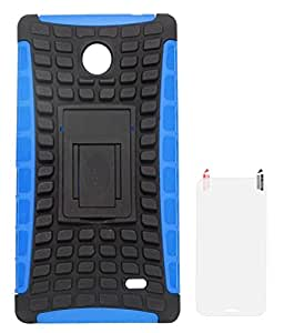 DMG Rubberized Hard Back Kickstand Case for Nokia X (Blue-Black) + Matte Screen