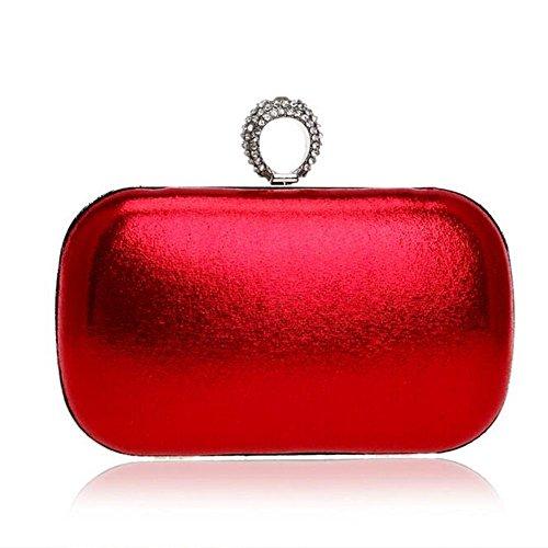 NAOMIIII Frauen-Normallack-Abend-Brautparty Sparkly Hochzeits-Kleine Schulter-Handtasche Red
