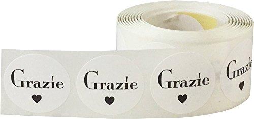 Blanco Circulo con Negro Grazie Pegatinas, 25 mm 1 Pulgada Redondo, 500 Etiquetas en un Rollo