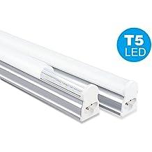 NRG Clever® T5I60CW, Blanco Frio 6500K integrados T5 60cm, Pack de 2 unidades T5 tubo LED 10W Luz 910lm para techos, armarios y cocinas, color del tubo de ahorro de energía del LED: 6500K blanco frío