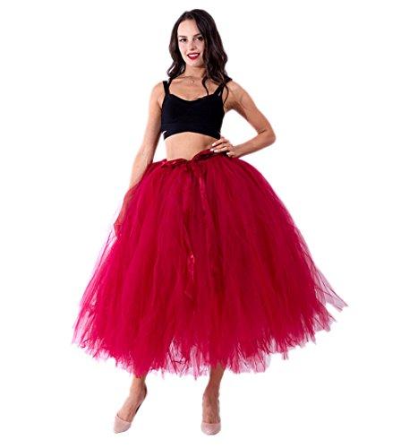 Honeystore Damen's Tüllrock Maxirock Lang Tüll Rock Tutu Hochzeit und Party Prinzessin Ballettrock One Size Weinrot (Karo-rock Schuluniform Im)