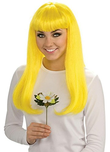 Peluca amarilla larga con flequillo para cosplay