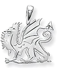 Mens Sterling Silver Small Welsh Dragon Pendant On A Black Leather Cord Necklace