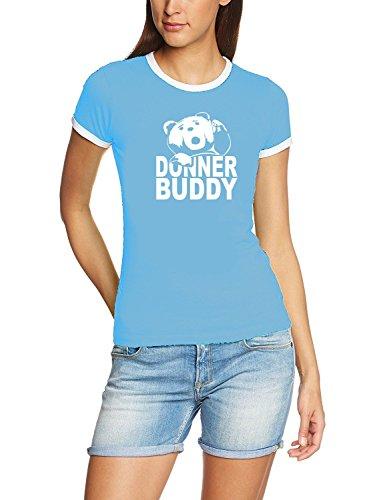 DONNER BUDDY - THUNDER SONG TEDDY fuck you thunder Damen Ringer T-Shirt SKY_RIGI RINGER Gr.XL