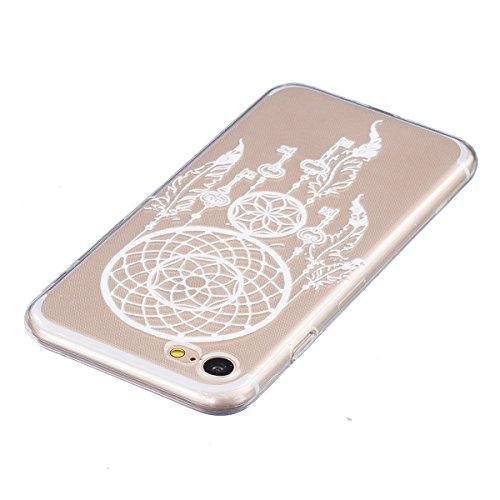 iPhone 7 Cas, Asnlove Coque TPU Silicone Doux Housse Motif de Peinture Étui Transparent Ultra Mince Cover Protection de Téléphone Case pour Apple iPhone 7 - Plume Noir Carillon Blanc