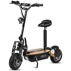 Patinete, Scooter tipo moto Eléctrico dos ruedas, Plegable, Color Negro, Motor 1600W, Velocidad máxima 40km/h, Autonomía 30-40km, Suspensión, Luz LED y Sillin desmontable. Ideal para paseos urbanos.