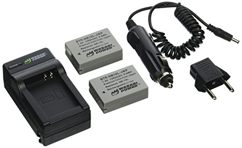 Wasabi Power Battery (2-Pack) and Charger for Canon NB-10L CB-2LC and Canon PowerShot G1 X G15 G16 SX40 HS SX50 HS