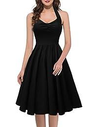 MIUSOL Damen Sommerkleid Neckholder Stretch Rockabilly Retro Cocktailkleid 1950er Party Kleid