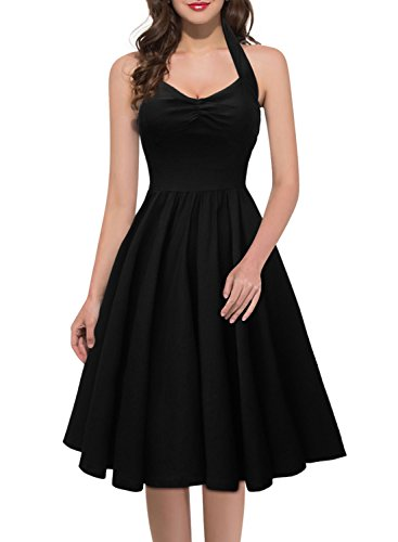 Miusol Neckholder Rockabilly Cocktailkleid 1950er Party Kleid Schwarz