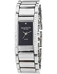 MADISON NEW YORK Damen-Armbanduhr Diamond Way Analog Quarz Edelstahl L3208A20