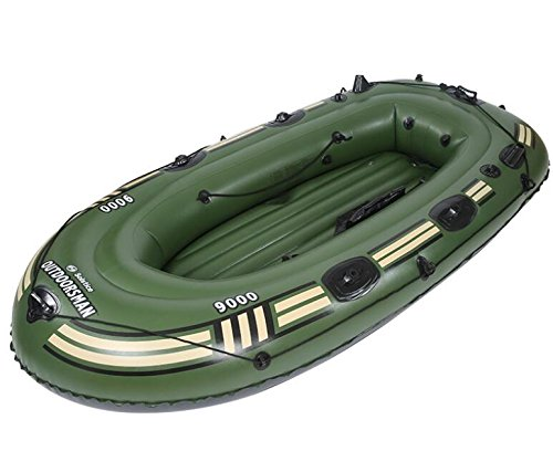 SZ5CGJMY ® Heavy duty 4 Person Inflatable Raft Dinghy fishing Boat Set Maximum weight 300kg