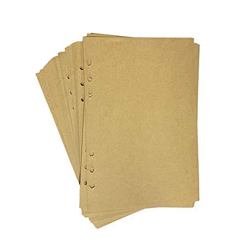 A5 6-Ring Binder Refill Kraftpapier 40 Blatt für SEEALLDE a5 Notizbuch Tagebücher Einsätze(Nachfüll seiten, A5 21x14.5 cm (Kraftpapier Binder)