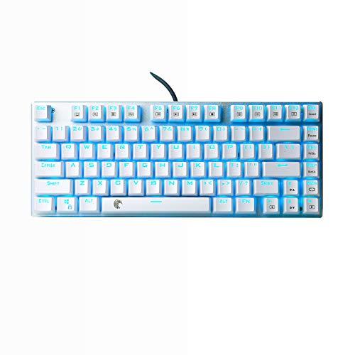 Kleine Mechanische Tastatur Blaue Led Beleuchtung Blue Switches Kompakt 81 Tasten US Layout TKL Mechanical Gaming Keyboard Für PC,Weiß (QWERTY)