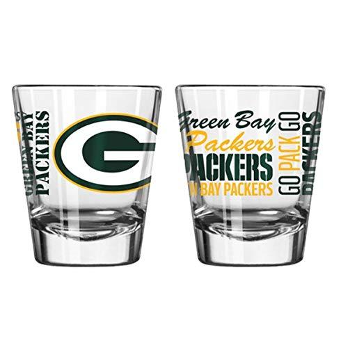 Offizielles Fan-Shop authentisches NFL Logo, 57 ml, 2 Stück Zeigen Sie Teamstolz zu Hause, Ihrer Bar oder an der Heckklappe. Gameday Schnapsgläser für eine Gute Nacht, Green Bay Packers - Spirit Shot 57 Nfl Football
