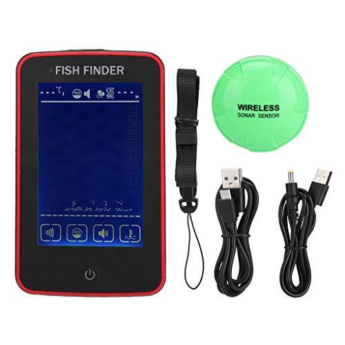 Finebuying Wireless Fischfinder Farbe Tragbarer Angeln Sonar Sensor Verkabelt LCD Tiefe Finder Echolot Fisch-Finder Frisches Wasser Salzwasser Elektroboot Angeln Tiefenortung Tracker (Rot) Lowrance-temperatur-sensor