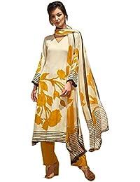 Hautewagon Cotton Suits For Women - Pure Chiffon Dupatta & Cotton Bottom Salwar Suit For Women - Party Wear Cotton...