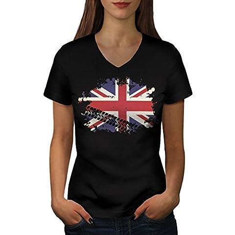 Union Jack Flag London UK Britain Life Women Black L V-Neck T-shirt | Wellcoda