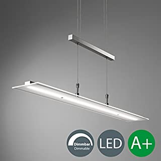 B.K. Licht LED pendant light for living & dining room, adjustable height, built-in 20W LED board, warm white 3000K, dimmable ceiling lighting, metal / glass, matt nickel finish, 230V, IP 20