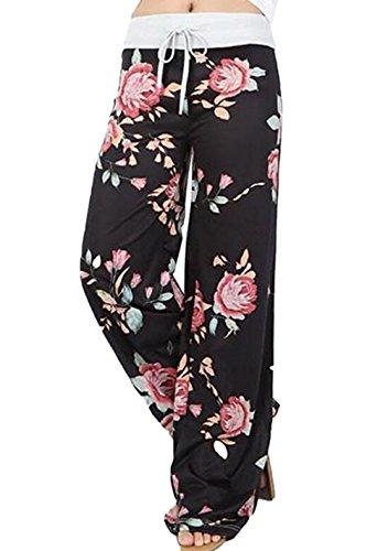 Melansay Damen Locker Palazzo Yoga Hose Blumen Weite Bein Lange Freizeit Pyjamahose Black 1-Flower, XL